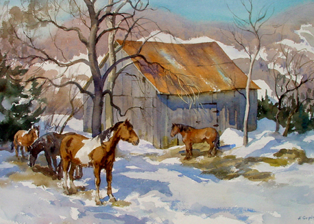 Winter Barn Horses Henry Simpkins